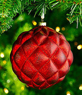 Southern Living Nostalgic Noel Collection Quilted Mercury Glass Ball Ornament