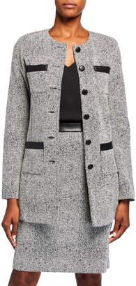 Karl Lagerfeld Paris Faux-Leather Trim Tweed Knit Topper