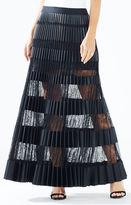 BCBGMAXAZRIA Krissy Faux-Leather Striped Maxi Skirt