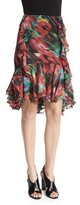Jason Wu Floral-Print Ruffle Skirt, Black/Multi