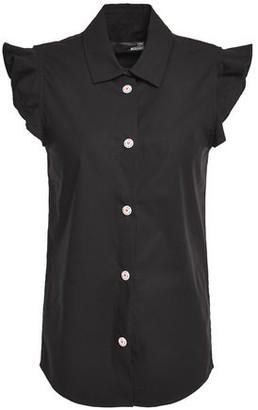 Love Moschino Ruffle-trimmed Stretch-cotton Poplin Shirt
