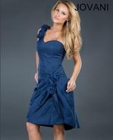 Jovani One Shoulder Short Dress with Side Floral Accents 72687