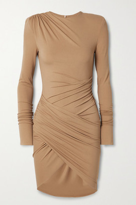 Alexandre Vauthier Draped Stretch-jersey Mini Dress - Beige