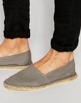 Asos Espadrilles In Grey Canvas