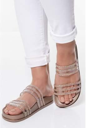 Quiz Rose Gold Diamante Strap Flat Sandals