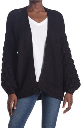 Modern Designer Bubble Sleeve Open Front Cardigan