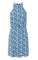 Select Fashion Fashion Womens Blue Ditsy High Neck Tea Dress - size 10