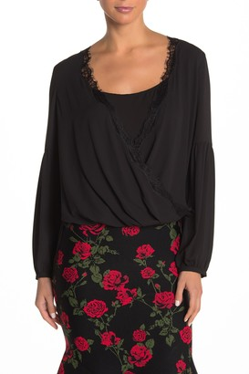BCBGMAXAZRIA Lace Trim Blouse
