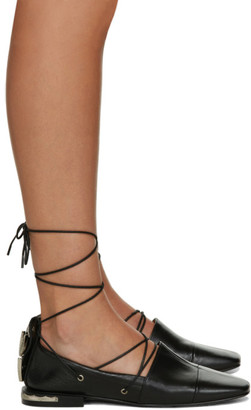 Toga Pulla Black Ankle Strap Ballerina Flats