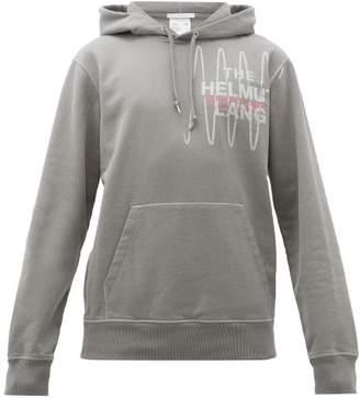 Helmut Lang Logo Embroidered Cotton Hooded Sweatshirt - Mens - Grey