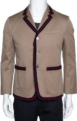 Gucci Beige Cotton Crochet Trim Three Buttoned Jacket M