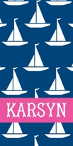 The Well Appointed House Personalized Beach Towel with Sailboats Pattern