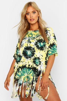 boohoo Plus Tie Dye Tassel Beach Dress