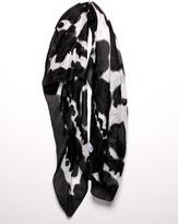 Black/White Rorschach Tie Dye Silk Scarf