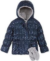 S. Rothschild 2-Pc. Foil Heart-Print Puffer Jacket & Mittens Set, Toddler Girls (2-6X)