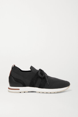 Loro Piana 360 Lp Flexy Walk Suede And Leather-trimmed Wool Sneakers - Black