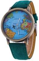 Espoir Women's Global Travel By Plane World Map Dress Watch Denim Faux Leather Wrist Watches (Green)