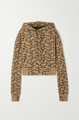 Twenty Montreal Hyper Reality Cropped Cotton-blend Jacquard-knit Hoodie - Gold