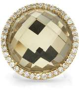 Roberto Coin Classics 18K Yellow Gold Quartz & 0.95ct. Pavé Diamond Halo Ring Size 6.5