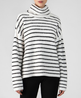 Chenille Funnel Neck Sweater - Black/ White Stripe