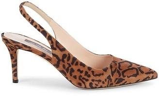 Sarah Jessica Parker Simplicity Leopard-Print Suede Slingbacks