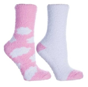 MinxNY Women's Clouds Lavender Infused Slipper Socks, 2-Pair Pack
