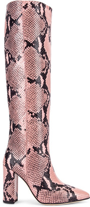 Paris Texas Snake Print Knee High Boot in Pink | FWRD