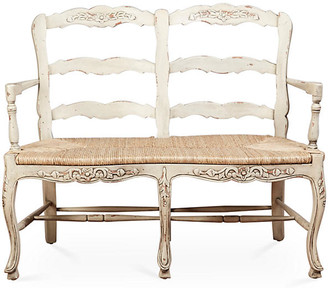 One Kings Lane Catherine 2-Seat Bench - Parchment - frame, distressed parchment; seat, jute