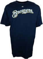 Majestic Men's Big and Tall Milwaukee Brewers Official Wordmark T-Shirt