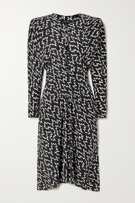 Isabel Marant Ibelky Gathered Printed Stretch-silk Crepe De Chine Midi Dress - Black