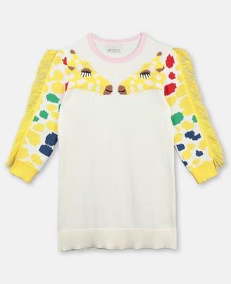 Stella McCartney knit dress with intarsia giraffe & fringe