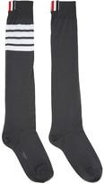 Thom Browne Grey Ribbed Knee-high Four Bar Socks