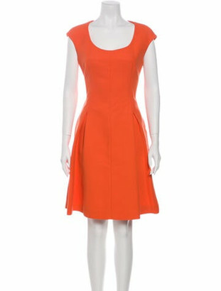 Fendi Scoop Neck Knee-Length Dress Orange