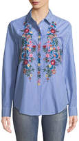 Neiman Marcus Embroidered Striped Button-Front Blouse