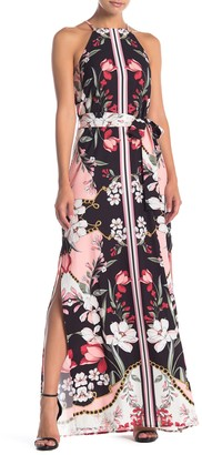 Alexia Admor Monica Floral Print Belted Maxi Dress
