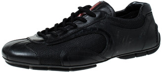 Prada Sport Prada Black Leather and Mesh Lace Up Sneakers Size 41