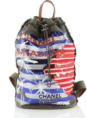 Chanel Cubano Trip Backpack Sequin Embellished Canvas Medium