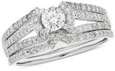 Zales 1 CT. T.W. Certified Diamond Multi-Row Collar Bridal Set in 14K White Gold (I/I2)