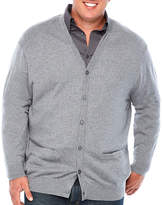 Claiborne Y Neck Long Sleeve Cardigan - Big and Tall