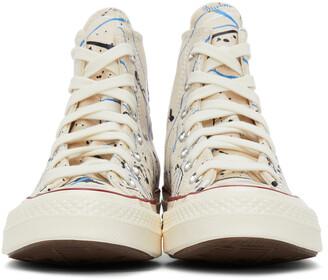 Converse Beige Archive Paint Splatter Chuck 70 High Sneakers