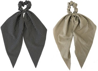 Headbands Of Hope Taupe & Black Polka Scrunchie Scarves
