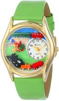 Whimsical Watches Kids' C1610001 Classic Trains Green Leather And tone Watch