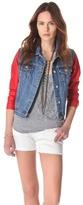 Washborn Faux Leather Sleeve Denim Jacket