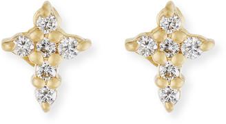 Roberto Coin Mini Diamond Cross Stud Earrings