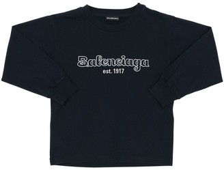 Balenciaga Logo Printed L/s Cotton Jersey T-shirt