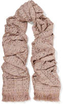Missoni Fringed Metallic Crochet-knit Scarf - Blush