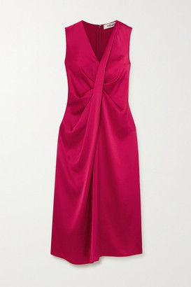 Diane von Furstenberg Katrita Draped Satin Dress - Magenta