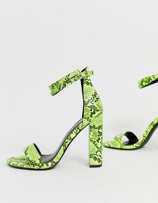 Simmi Shoes Simmi London Heidi acid bright green block heeled sandals