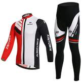 BESYL Unisex Red White Black Printed High-Performance Mesh Cycling Cloting Suit, Breathable Sleeve Cycling Jersey and Padded Pants Kit for Bicycle Bike Riding Biker