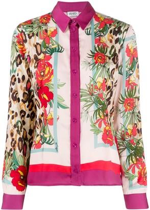 Liu Jo Contrast Print Colour Block Detail Shirt
